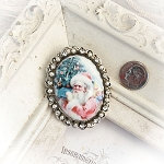 DeStash Christmas Santa Porcelain Crystal Pin