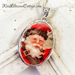 Victorian Christmas Xmas Oval Santa  Broken China Jewelry Pendant Necklace