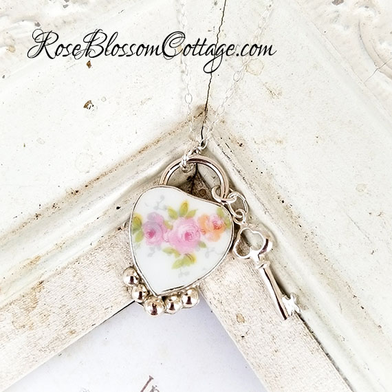 Shabby Chic Vintage  Broken China Jewelry Sterling Key Lock Style  Pendant Necklace
