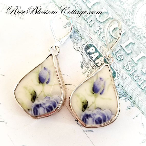 Shades of Blue Roses Fancy Drop Broken China Jewelry Earrings B