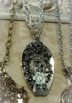 Spoon Necklace Silver plate Antique Look Blue Crystal