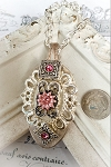 Spoon Necklace Silver plate Pink Crystal  Pendant