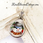 Christmas Tear drop Western Cowboy Hat Snowman Broken China Jewelry Sterling Pendant Necklace