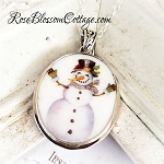 Snowman Give me a Hug Broken China Jewelry Sterling Oval Pendant Necklace