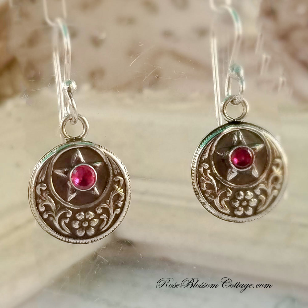 Texas Star July Ruby Floral Sterling Earrings