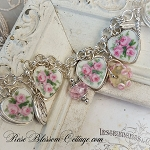 Three Pink Roses II Broken China Jewelry Crystal Pearl Charm Bracelet III Choice