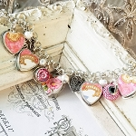 Broken China Jewelry Royal Albert Lady Carlyle Heart Sterling Charm Bracelet