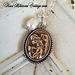 Prayer Angel Bronze & Sterling Silver Pendant Necklace