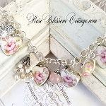 April Rose Broken China Jewelry Sterling Silver Charm Bracelet