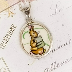 Benjamin Bunny Broken China Jewelry Beatrix Potter Oval Sterling Pendant