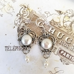 Scrolling Blister Freshwater Pearl Sterling Medallion Earrings #1