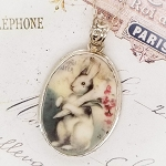 Bunny Rabbit Easter Flowers Large Oval Broken China Jewelry Necklace