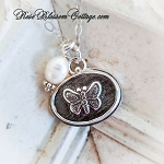 Butterfly East/West Petite Oval Charm Pendant Necklace