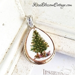 Christmas Tree and Presents Teardrop Broken China Bronze Sterling Pendant Necklace