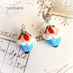 Destash Lampwork Strawberry Cupcake Sterling Earrings