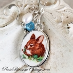 Easter Resting Bunny Rabbit Small Oval Pendant Necklace