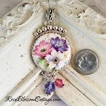 Spring Flower Porcelain Sterling Pendant Necklace