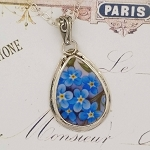 Broken China Jewelry Forget Me Not Teardrop Sterling Pendant Necklace