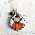 Halloween Broken China Jewelry Teardrop Child Onyx Coral Drops Pumpkin Sterling Pendant Necklace