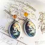 Halloween Witch Riding Broom Earrings Sterling Earwires
