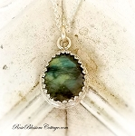 Labradorite Faceted Tear Drop Sterling Pendant Necklace
