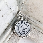 Broken China Jewelry Paris Postmark Sterling Pendant Necklace