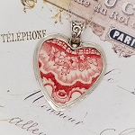 Johnson Bros. Old Britain Castles Transferware Red White Heart Necklace