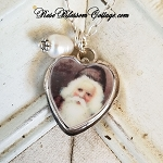 Olde World Santa, St. Nick Xmas Christmas Broken China Jewelry Charm Pendant Necklace