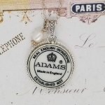 Broken China Jewelry Backstamp Makers Mark Adams English Ironstone Pendant Necklace
