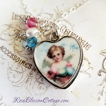Angel  Broken China Jewelry  Heart Sterling Charm Pendant Necklace
