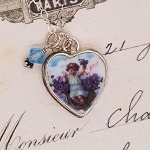 Angel in Violets Broken China Jewelry Sterling Charm Pendant Necklace