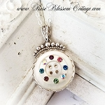 SALE Antique Mother of Pearl Button Multi Crystals Sterling Pendant