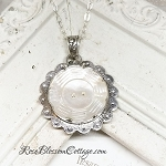 Antique Mother of Pearl Button Scalloped Flower Sterling Pendant Necklace