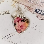 Soft Summer Rose Broken China Jewelry Charm Pendant Necklace