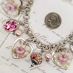April Rose Pink Broken China Jewelry Sterling Silver Charm Bracelet