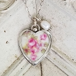 Vintage Austrian Heart Broken China Jewelry Charm Necklace