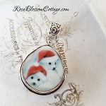 Christmas Baby Seals Broken China Jewelry Teardrop Pendant Necklace