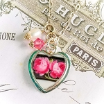 Vintage Black band Pink Roses Broken China Jewelry Charm Pendant Necklace