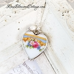 Vintage Soft Blue band with Scrolls Large Heart Floral Broken China Jewelry Pendant Necklace