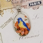 Blue Bird on Salmon Florals Oval Broken China Jewelry Pendant Necklace