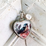 Broken China Jewelry Bird & Rose Charm Pendant Fresh Water Pearl Necklace