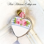 Vintage Blue Check Pink Rose Broken China Jewelry Pendant Necklace