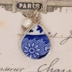 Spode Blue Italian Broken China Jewelry Small Fat Teardrop Pendant Necklace