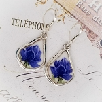 Blue & White Roses Fancy Drop Broken China Jewelry Earrings A