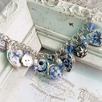 Shades of Blue & White Broken China Sterling Silver Handcrafted Jewelry Charm Bracelet