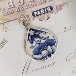 Blue & White Floral Royal Staffordshire Clarice Cliff Tonquin Fat Teardrop Broken China Jewelry Pendant Necklace