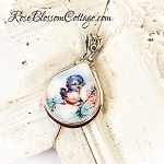 Broken China Jewelry Charm Fat Teardrop Happy Blue bird of Happiness Charm Pendant