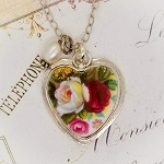 Royal Albert Celebration Rose Heart Broken china Jewelry Pendant Necklace