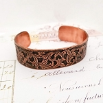 Antiqued Copper Cuff Bracelet Scrolling Leaves
