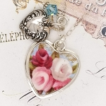 Royal Albert Cottage Garden Broken China Jewelry Victorian Puffed Heart Crystal Pendant Necklace